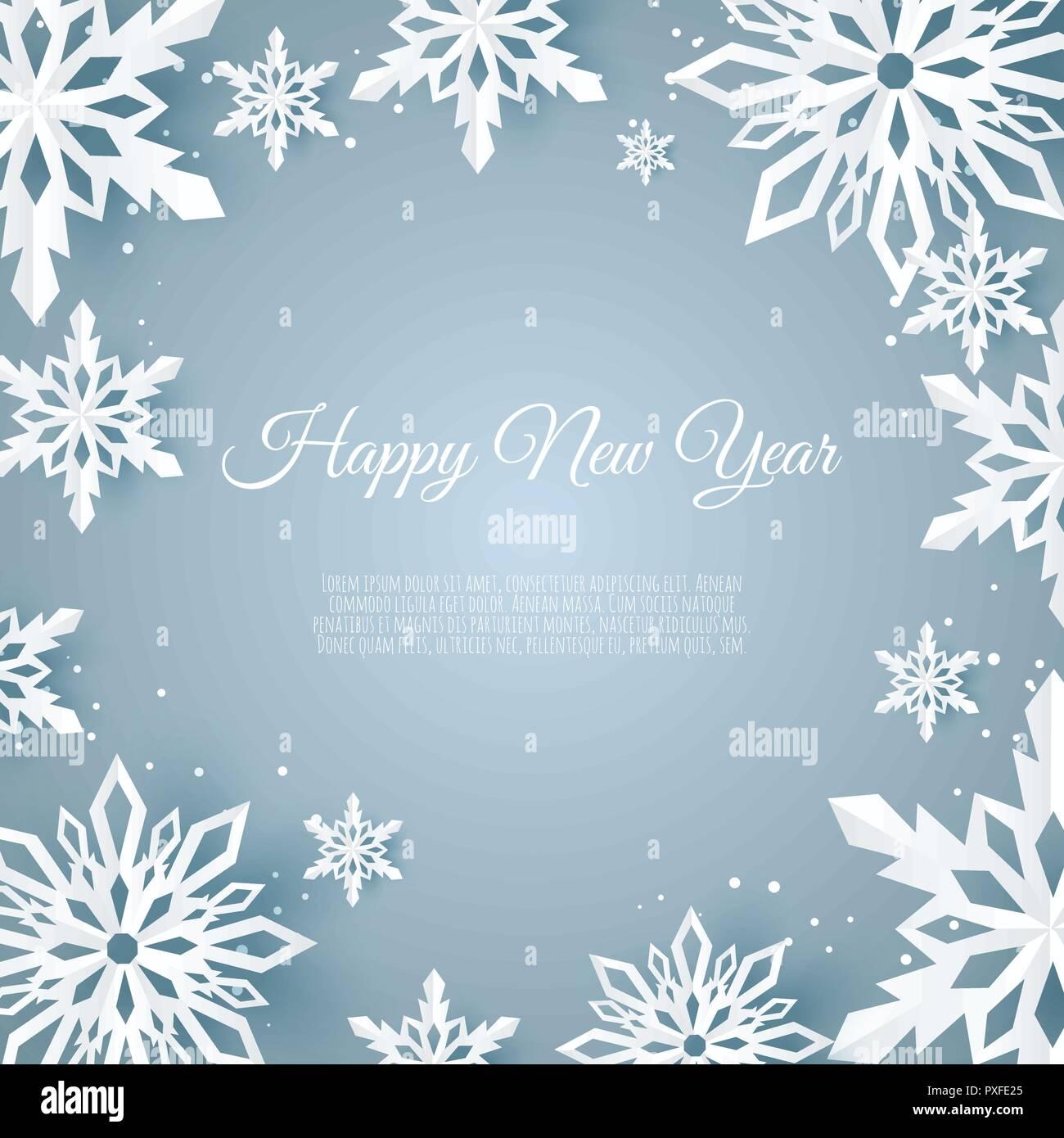 Weihnachtskarte Mit Papier Schneeflocke Fallende Schneeflocken Im