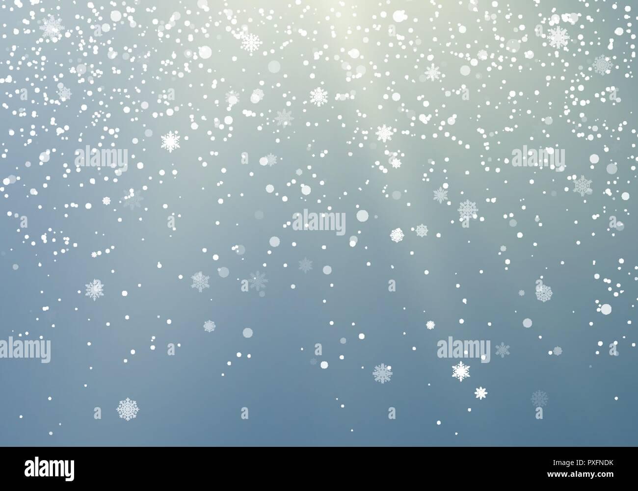 Fallende Schneeflocken transparenten Hintergrund. Winter Muster mit ...