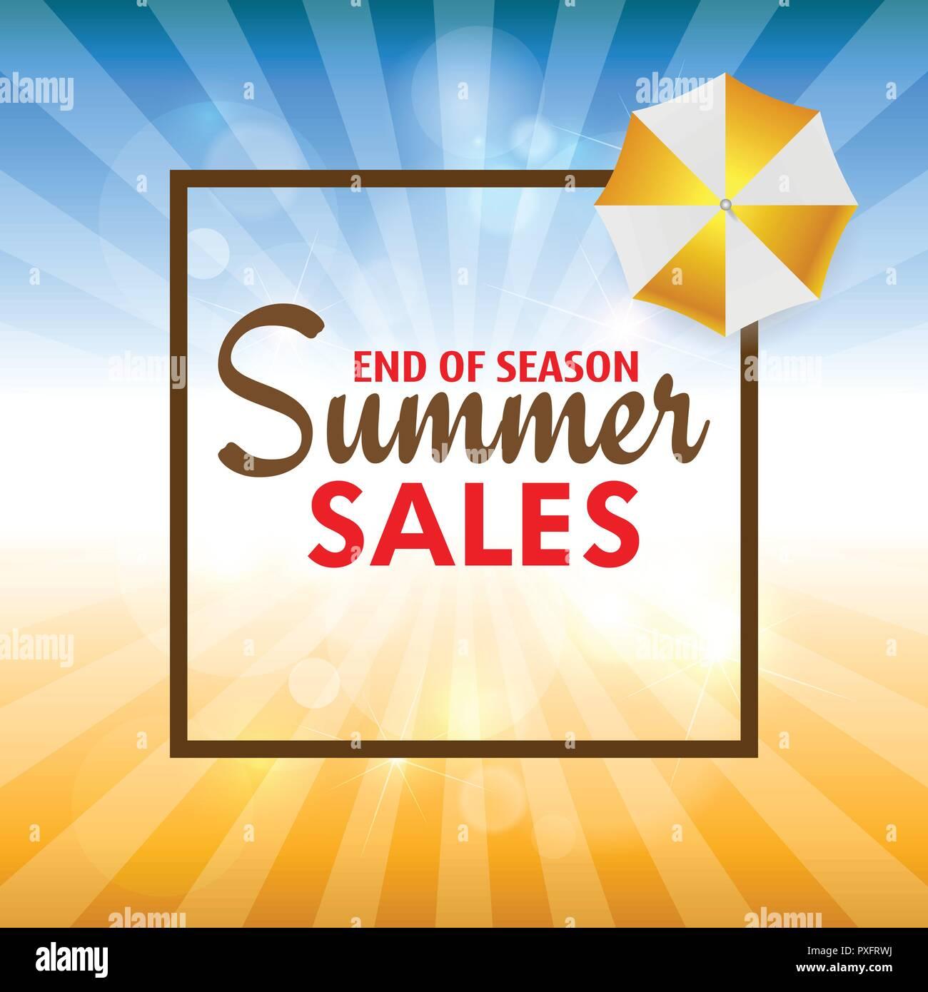 Sommer Sales Card mit Palmenblättern. Vektor. Stockbild