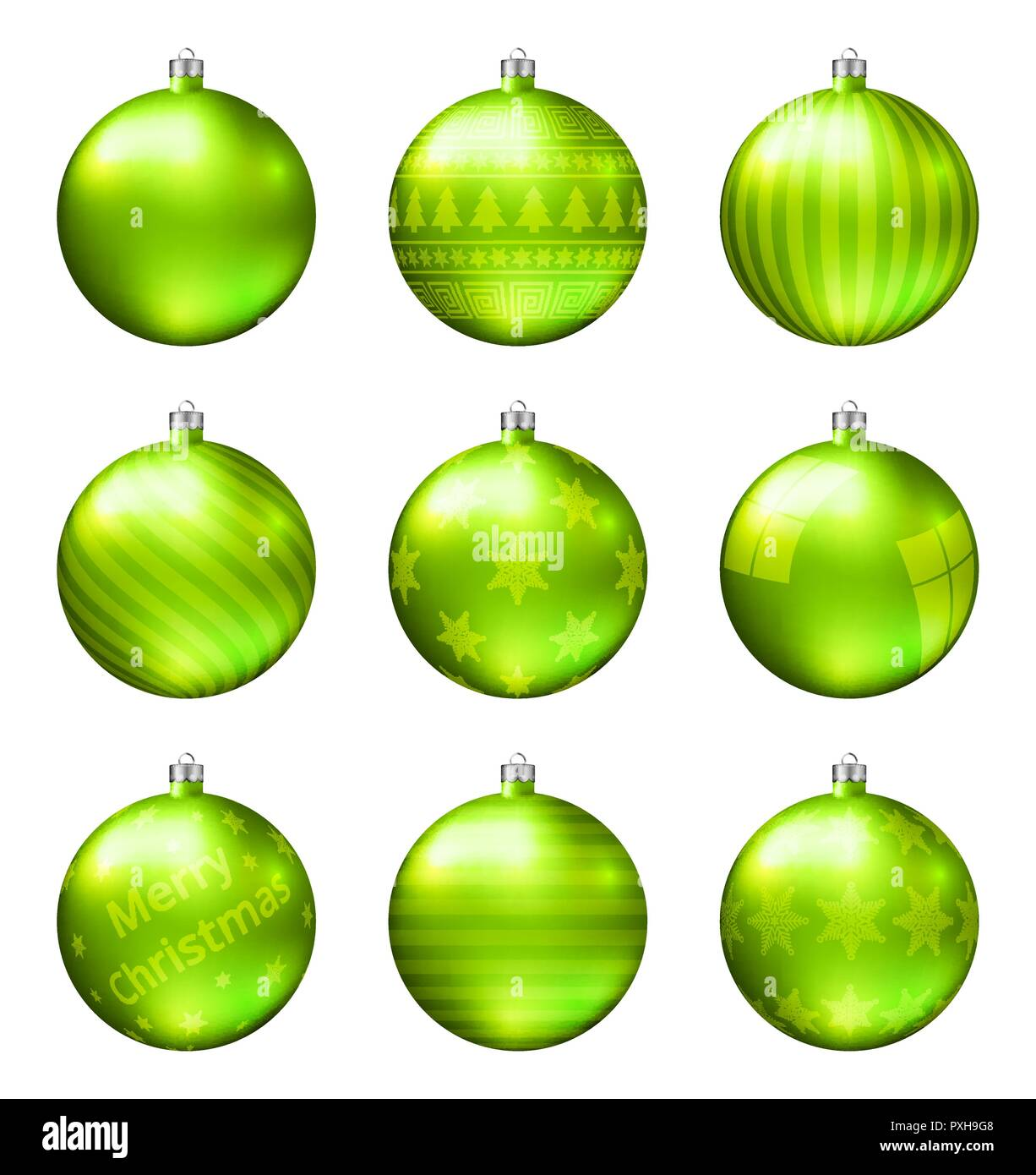 Christbaumkugeln Hellgrün.Hellgrün Weihnachten Kugeln Auf Weißem Hintergrund Fotorealistische