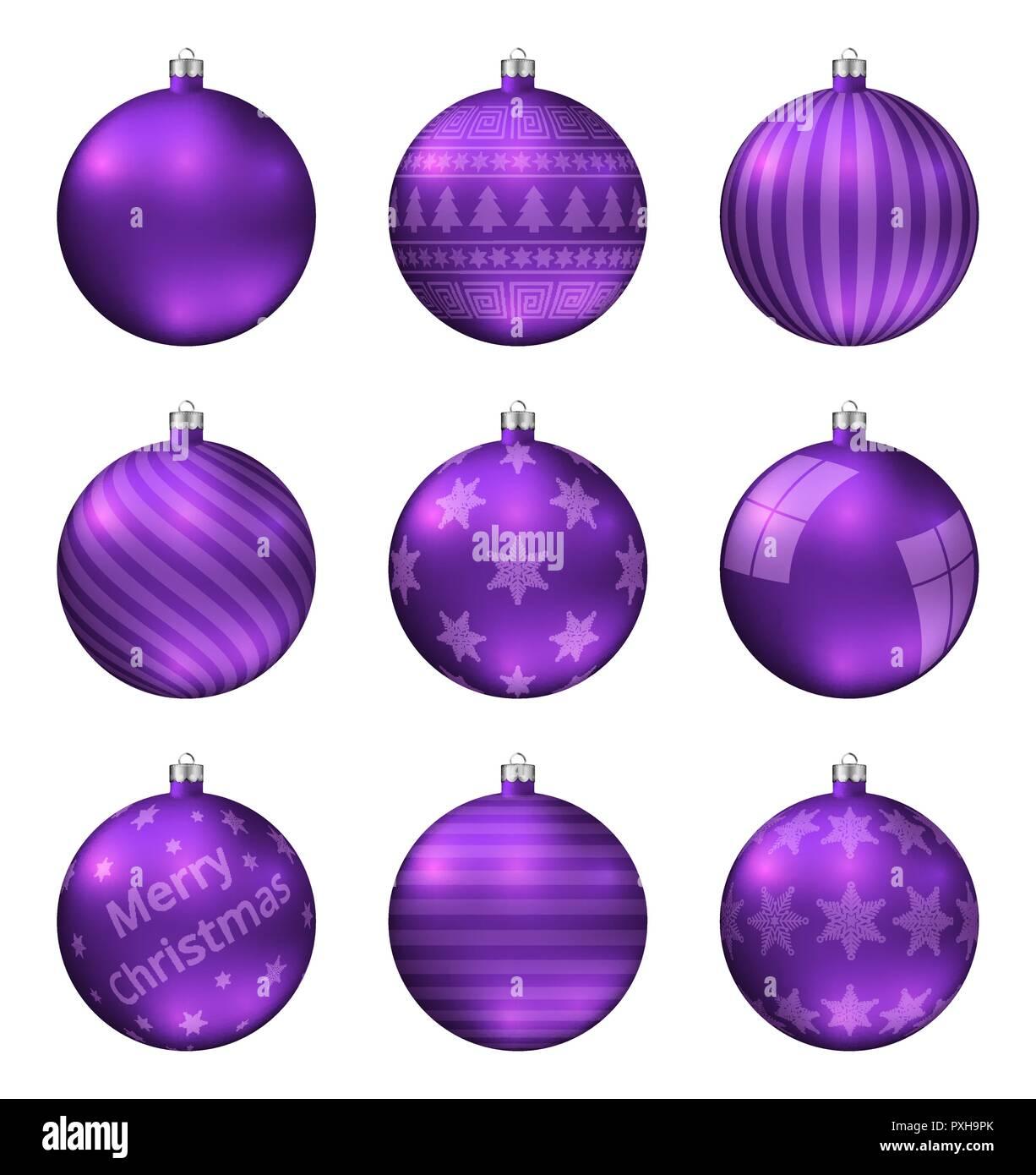 Christbaumkugeln Violett.Violett Weihnachten Kugeln Auf Weissem Hintergrund