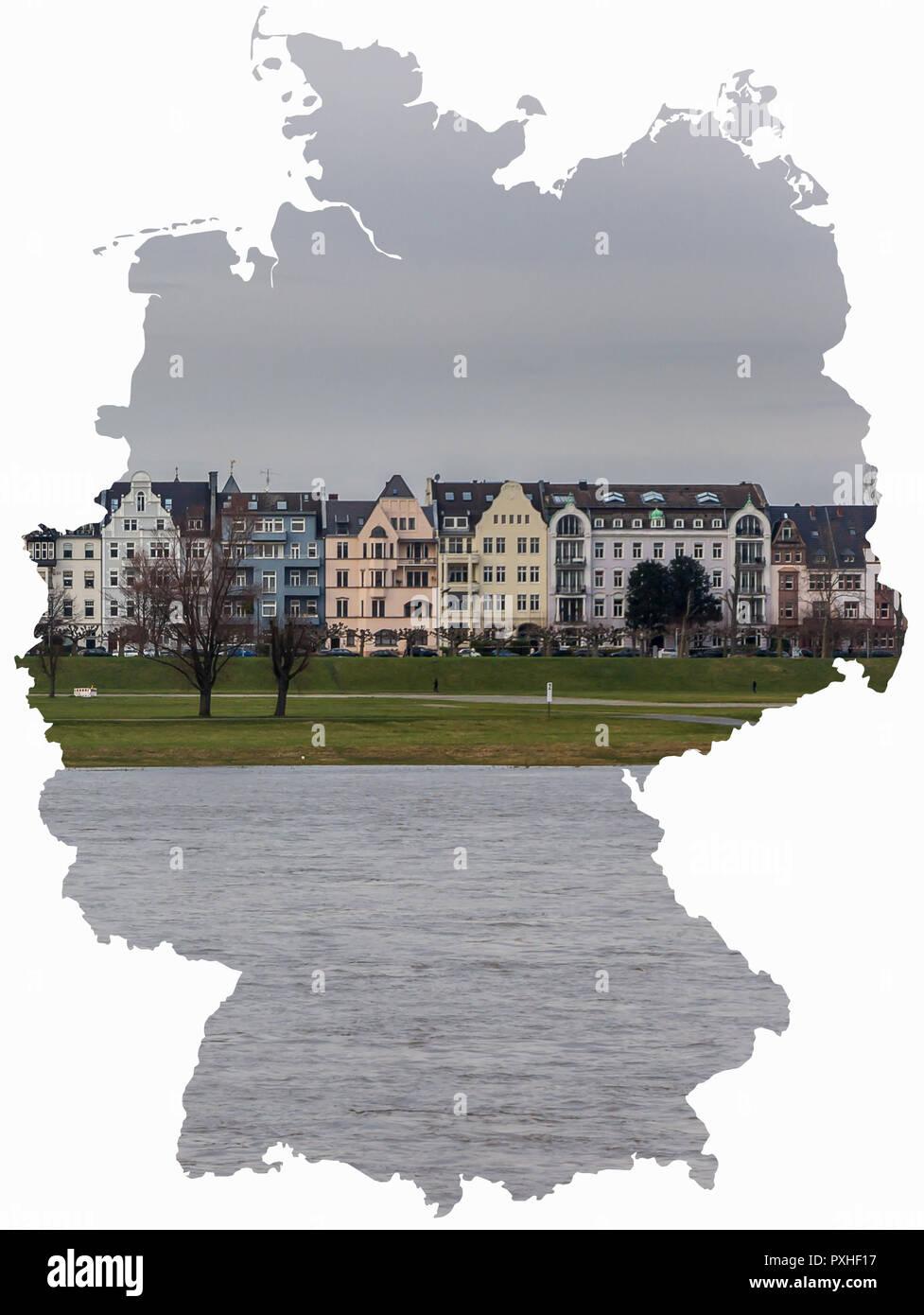 Riverside Rhein Dusseldorf Deutschland Karte Gebaude Und Fluss