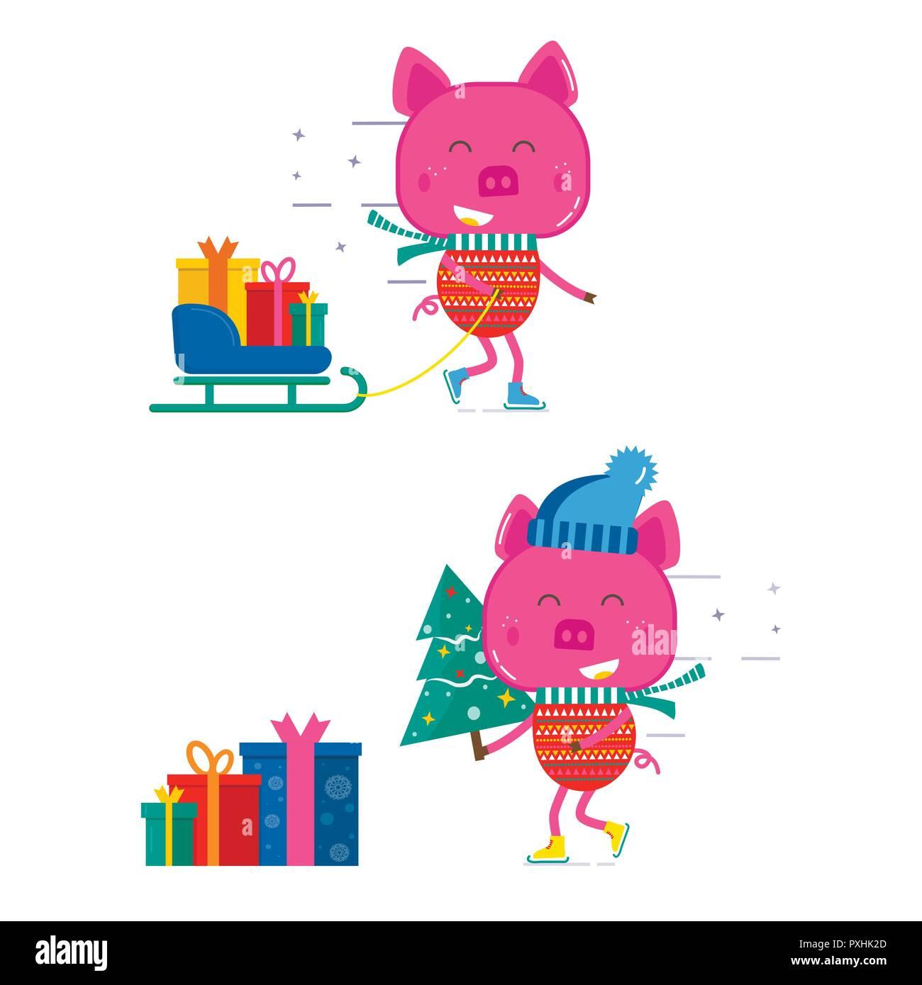 Frohe Weihnachten Hindi.Frohe Weihnachten Grusskarten Mit Niedlichen Tiere Schwein