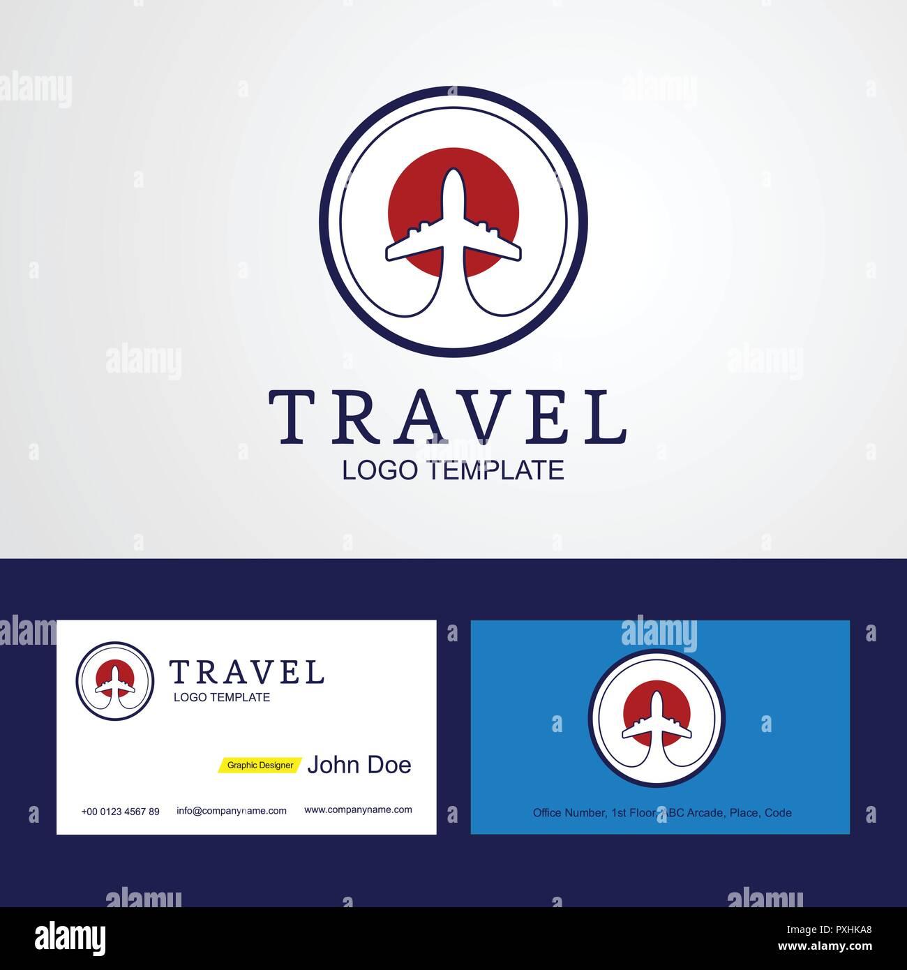 Reisen Japan Creative Circle Flag Logo Und Visitenkarte