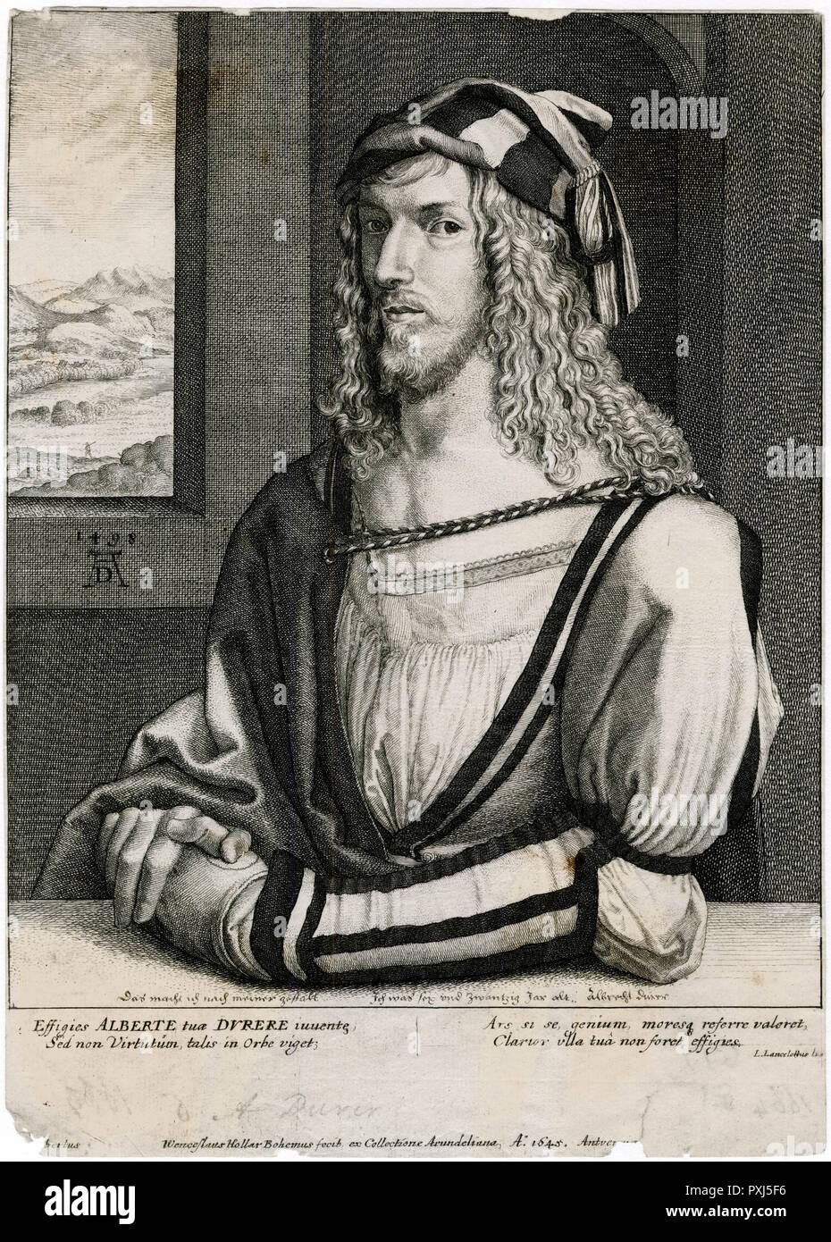 ALBRECHT DURER deutsche Künstler und Graveur, mit einer Landschaft im Hintergrund Datum: 1471-1528 Stockbild