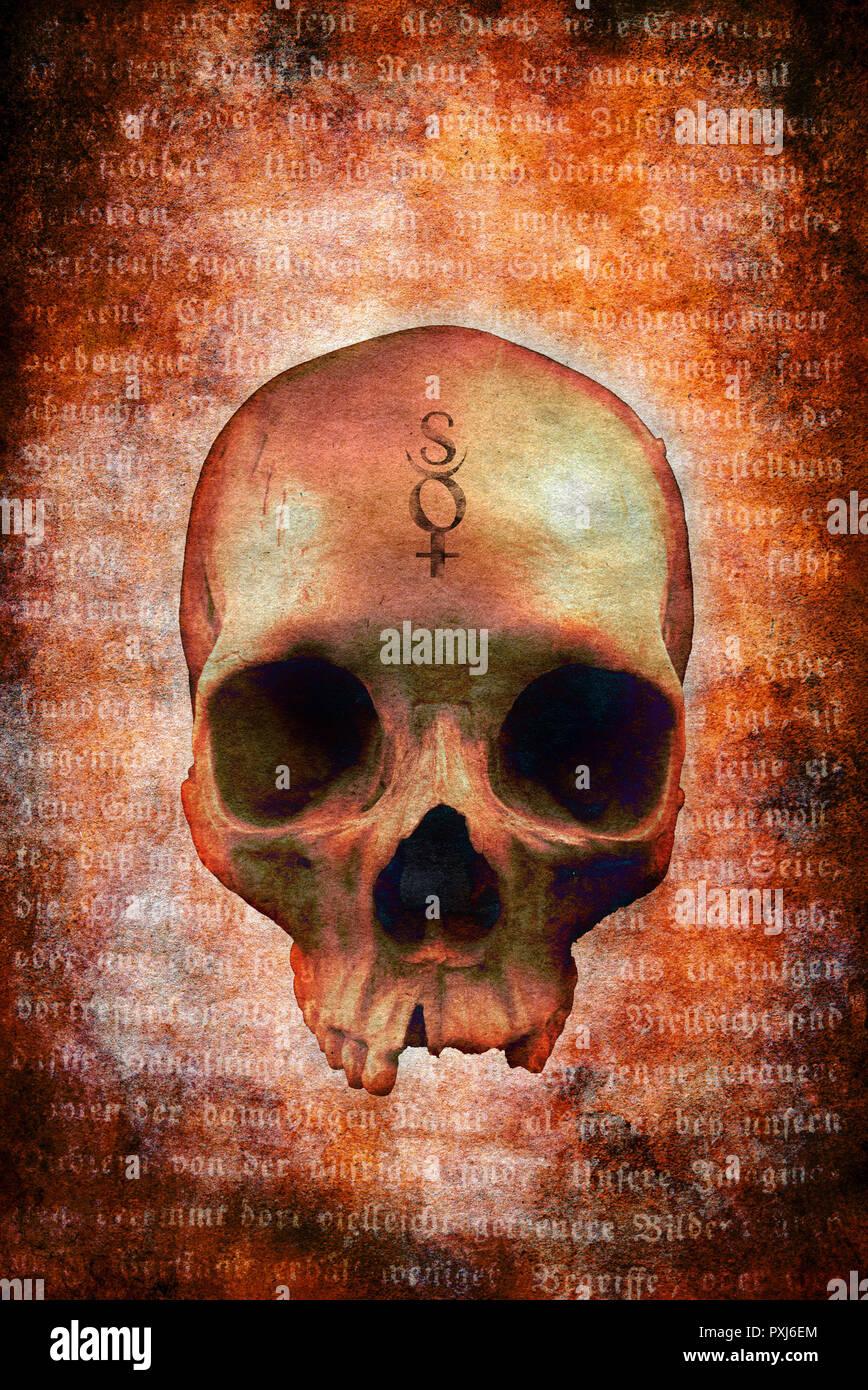 Menschlicher Schädel mit esoterischen Symbolen Stockbild