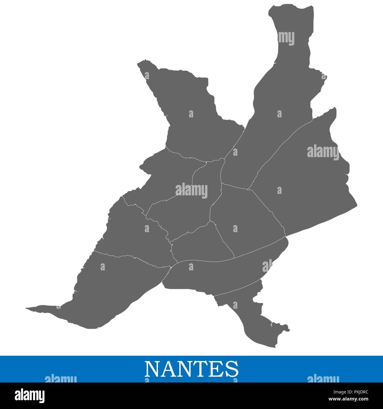 Nantes Karte.Hohe Qualität Karte Von Nantes Ist Eine Stadt In Frankreich Die