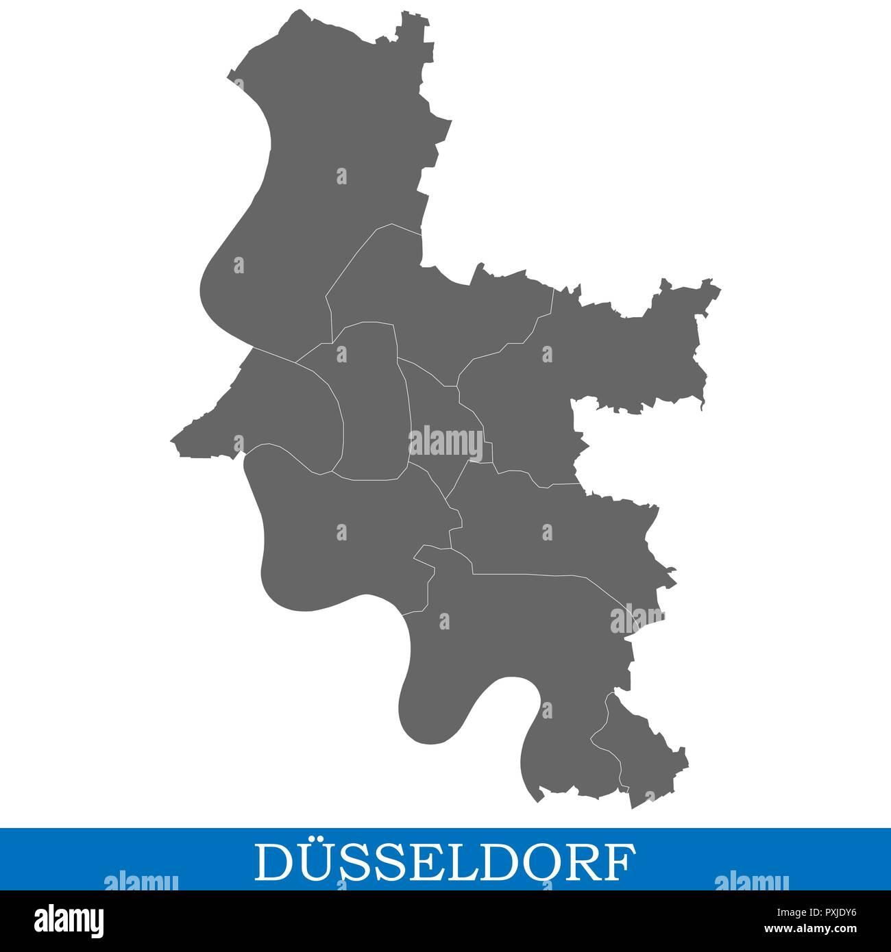 Hohe Qualitat Karte Von Dusseldorf Ist Eine Stadt In Deutschland
