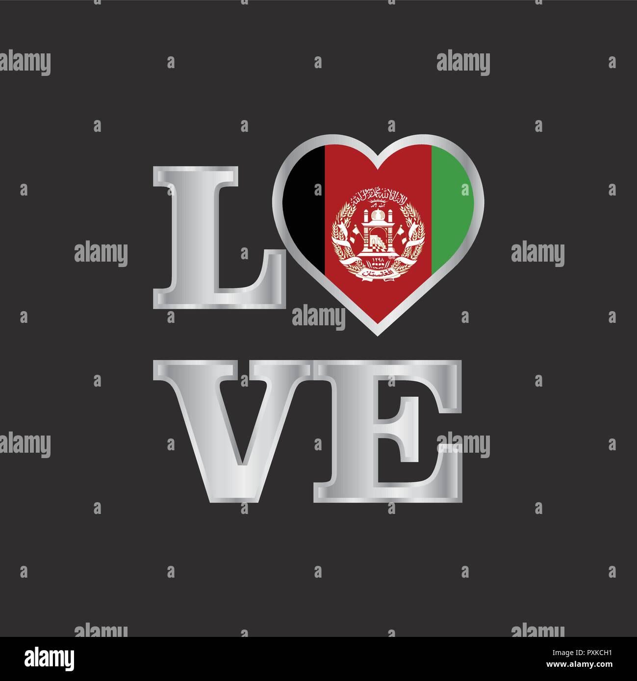 Typografie Liebe Afghanistan Flagge Design Vector Schonen