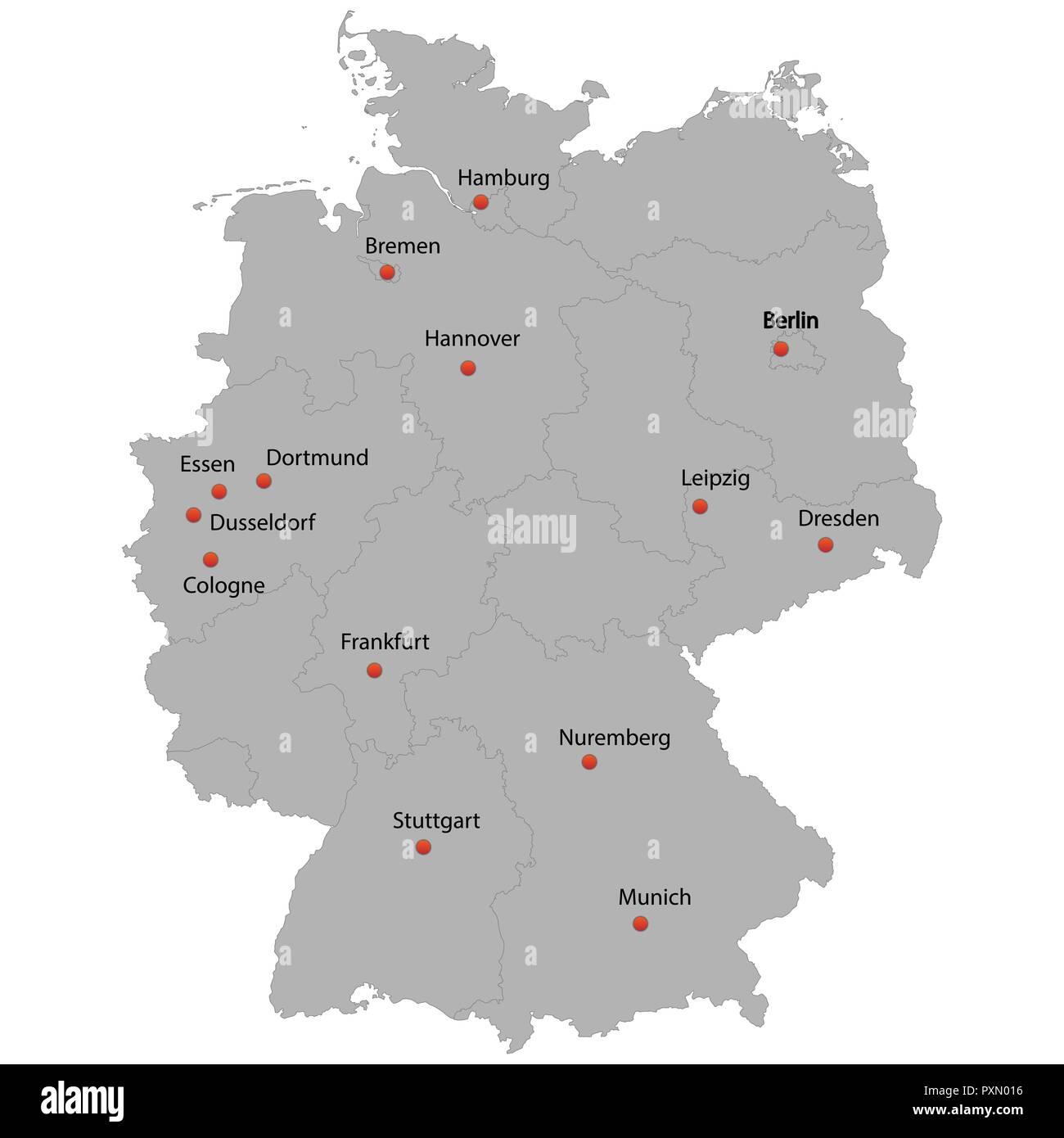Detaillierte Karte Der Deutschland Mit Stadten Vektor Abbildung
