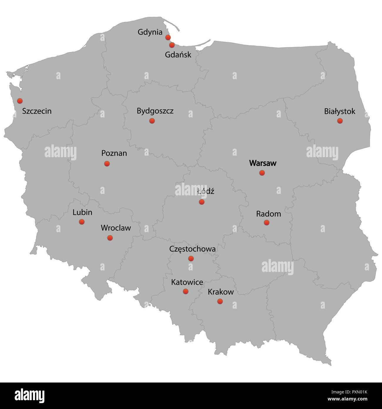 Detaillierte Karte Der Polen Mit Den Stadten Vektor Abbildung