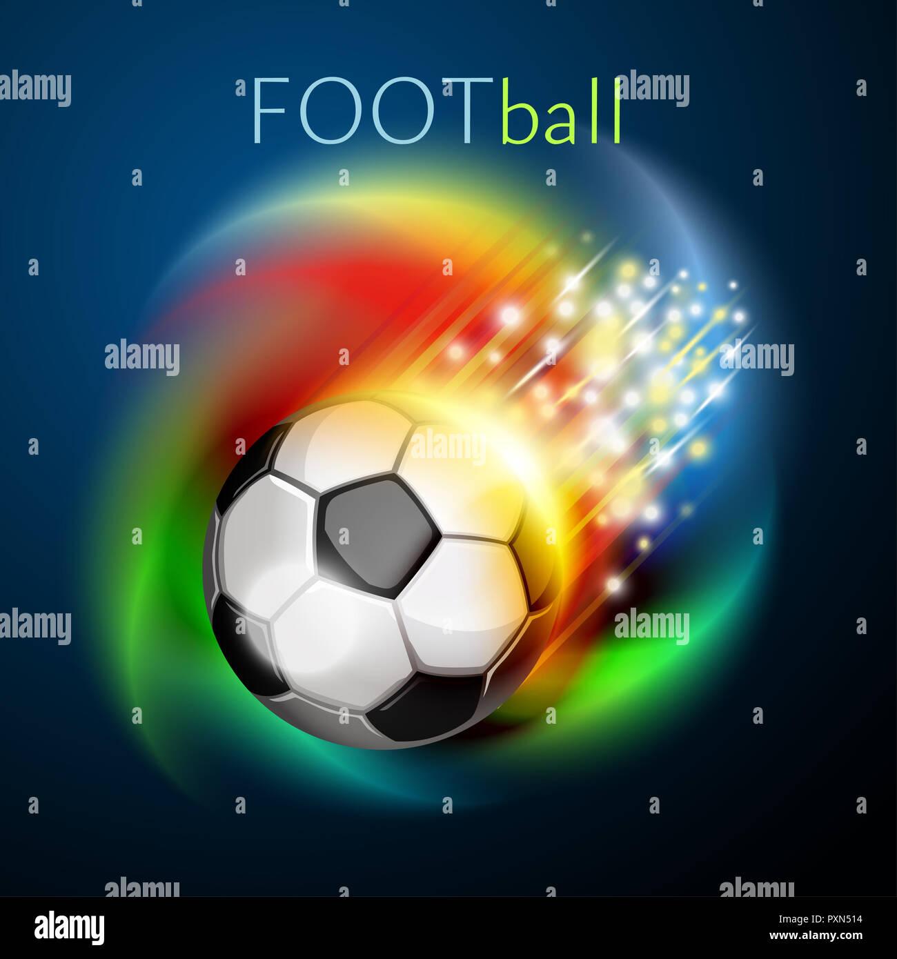 Fussball Ball Uber Regenbogen Hintergrund Fliegen Fussball