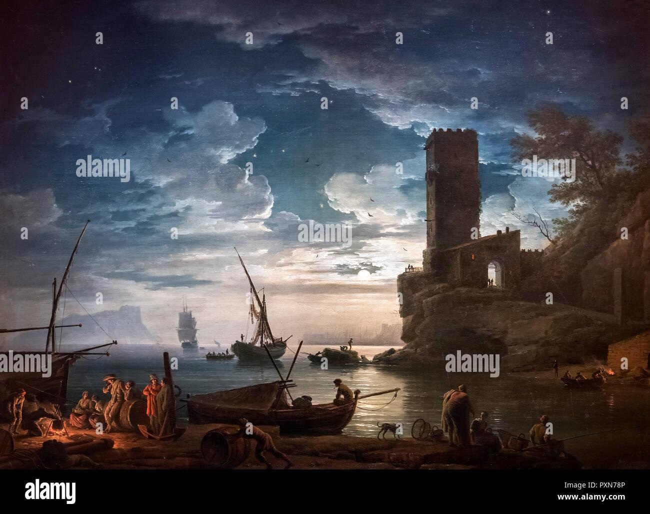 Nacht; Mittelmeerküste Szene mit Fischer und Boote von Claude Joseph Vernet (1714-1789), Öl auf Leinwand, 1753 Stockbild