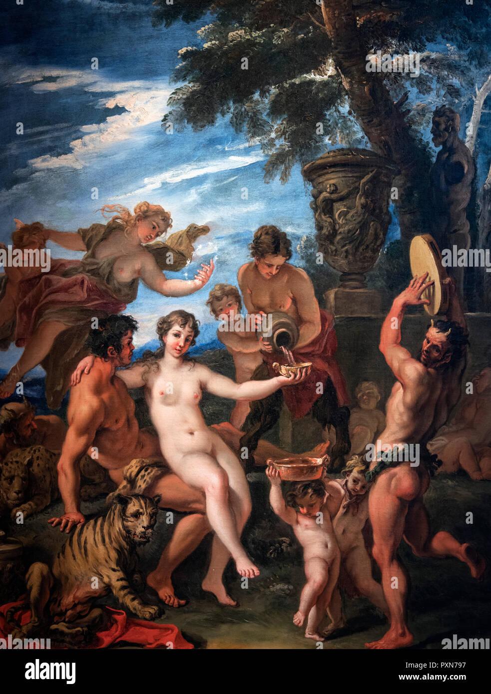 Bacchus und Ariadne von Sebastiano Ricci (1659-1734), Öl auf Leinwand, c. 1691-4. Das Bild zeigt die Hochzeit von Bacchus (oder) Dionysos, der Gott des Weines und der Ariadne, Tochter des Königs Minos von Kreta. Stockbild