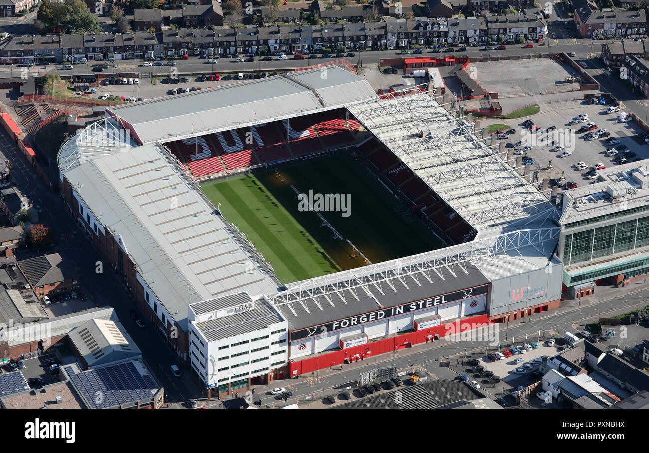 Luftaufnahme von Sheffield United Bramall Lane Stadium Stockbild