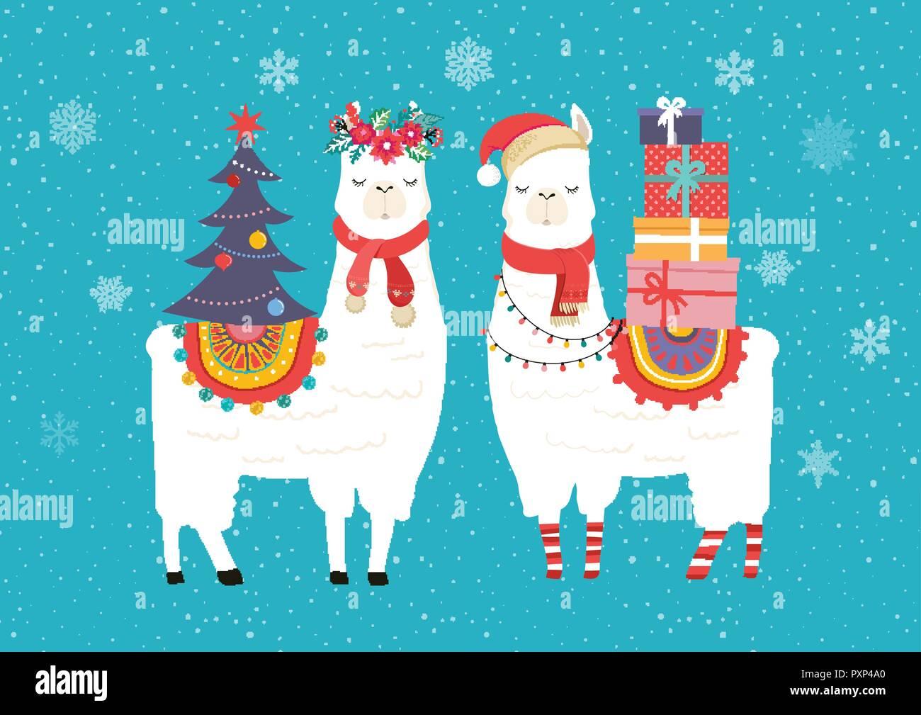 Kindergarten Weihnachten.Llama Winter Abbildung Niedliche Design Für Kindergarten Poster