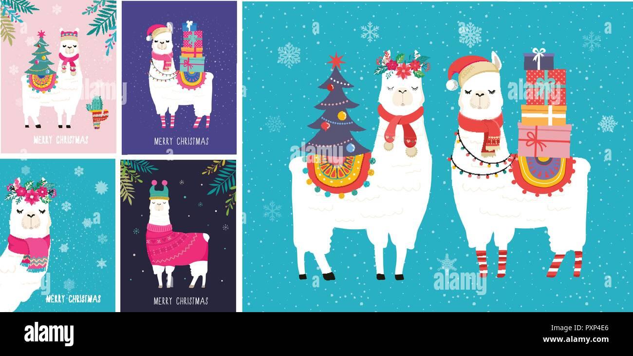 Kindergarten Weihnachten.Llama Winter Abbildung Niedliche Design Fur Kindergarten