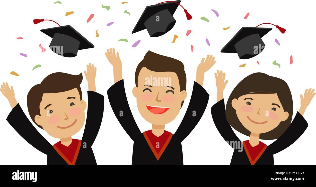 School College Graduation Cartoon Stockfotos School College