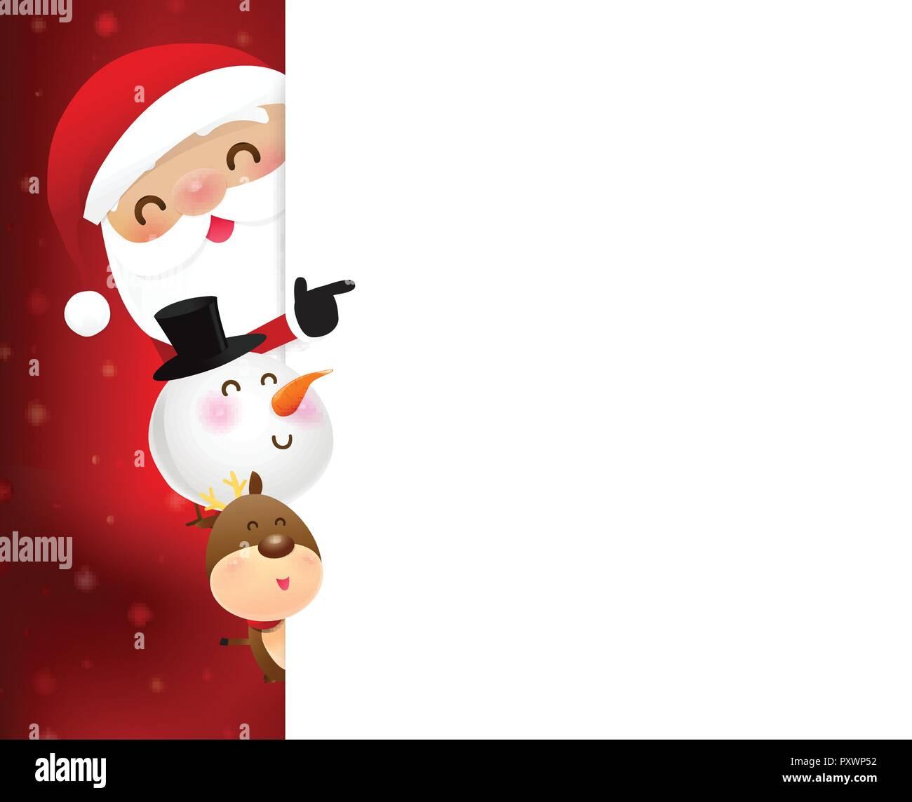 Weihnachten Weihnachtsmann cartoon Lächeln und versteckt sich hinter ...