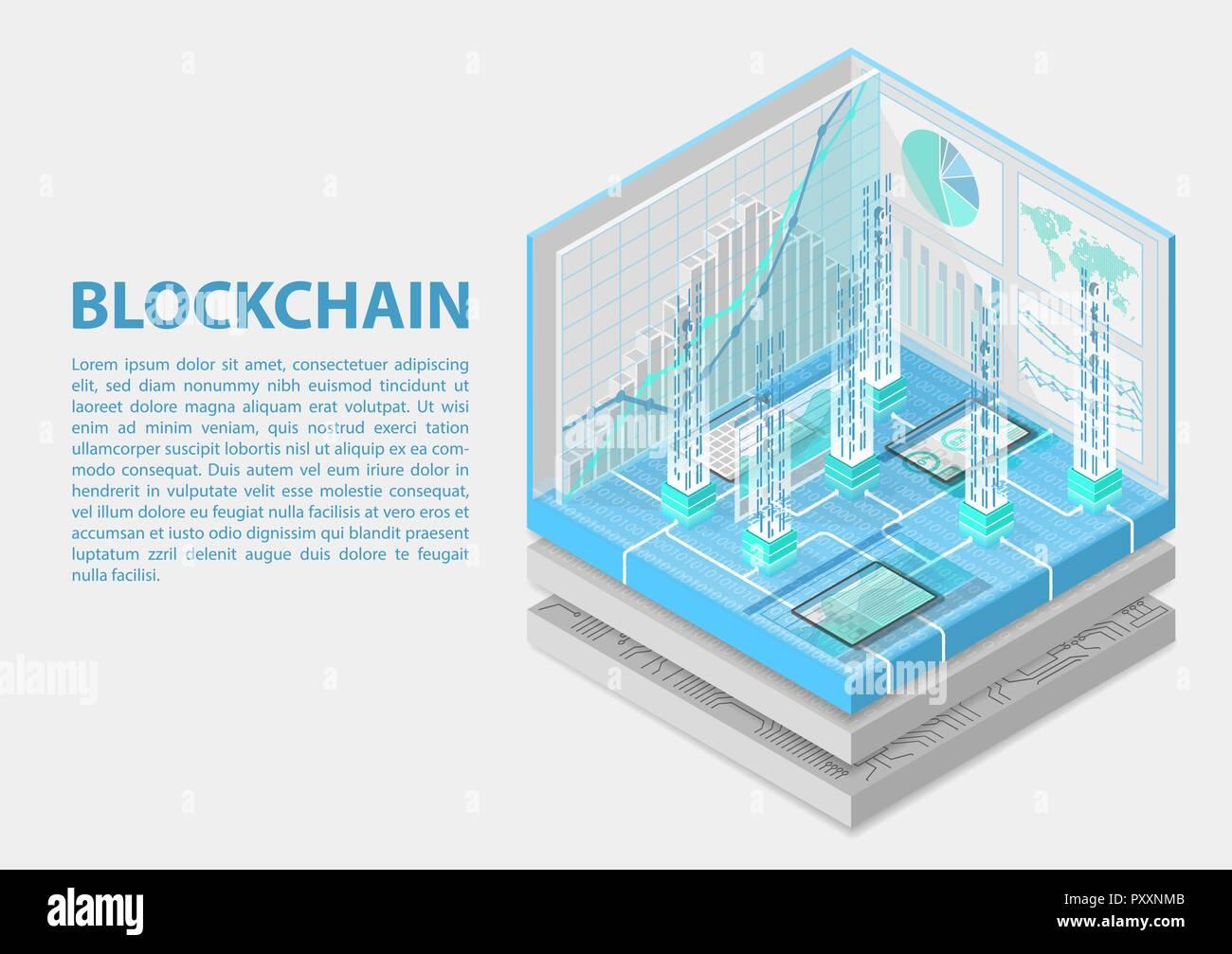 Blockchain isometrische Vector Illustration. Abstrakten 3D Infografik für blockchain Verwandte Themen Stock Vektor