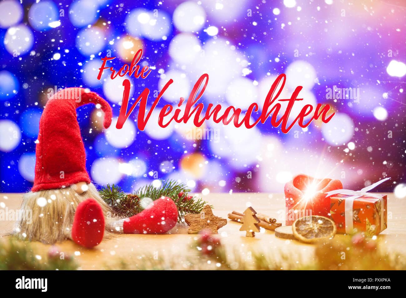 In Diesem Sinne Frohe Weihnachten.Red Sitzen Weihnachten Elf In Fallenden Schnee Mit Deutschen