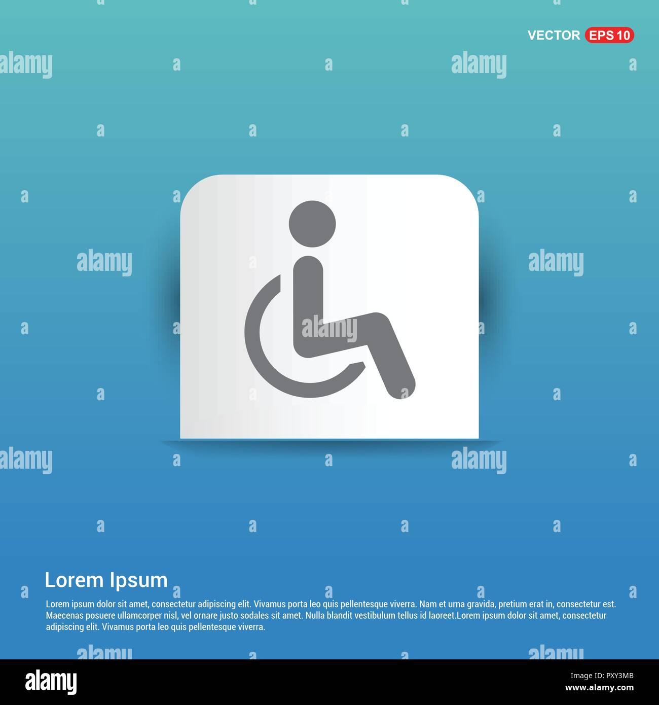 Behinderte Person Icon Blauen Aufkleber Button Vektor