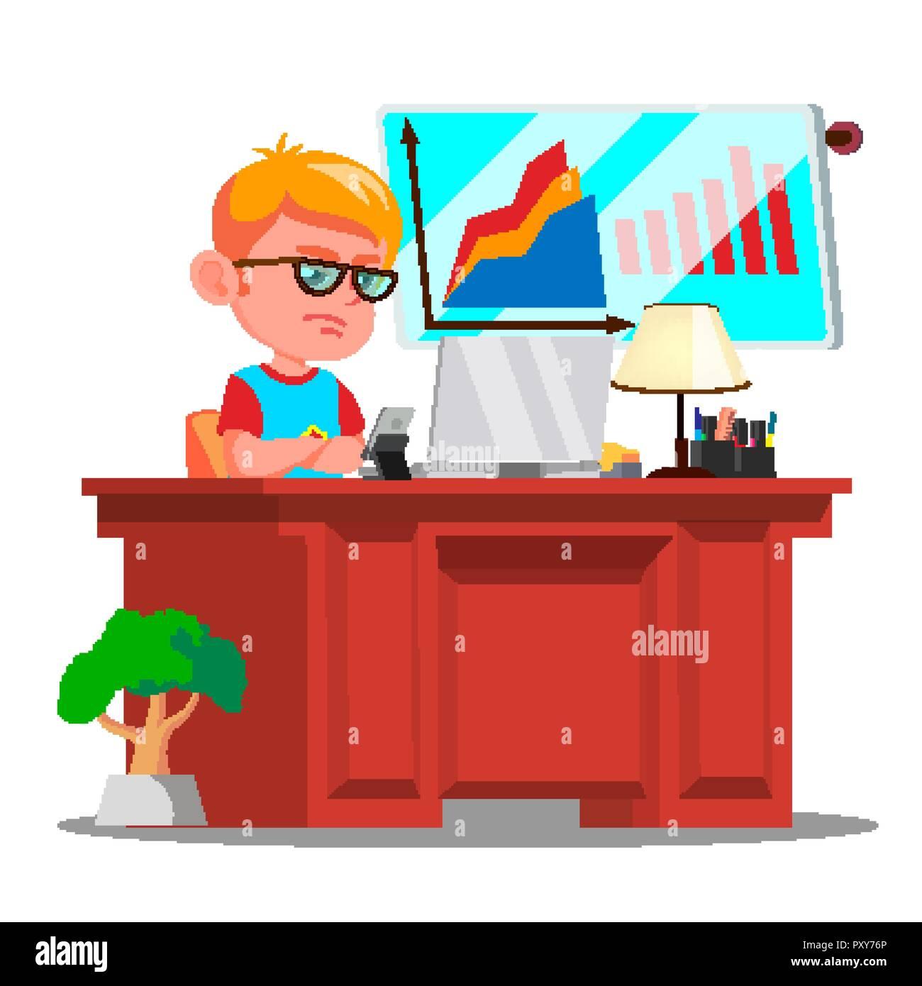 Little Chef Junge Schweren Kind In Große Gläser Sitzen Im Büro