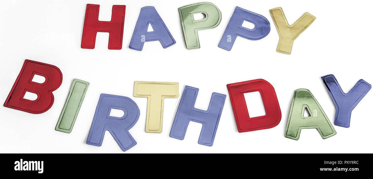 Happy Birthday Aus Bunton Buchstaben Stockfoto Bild