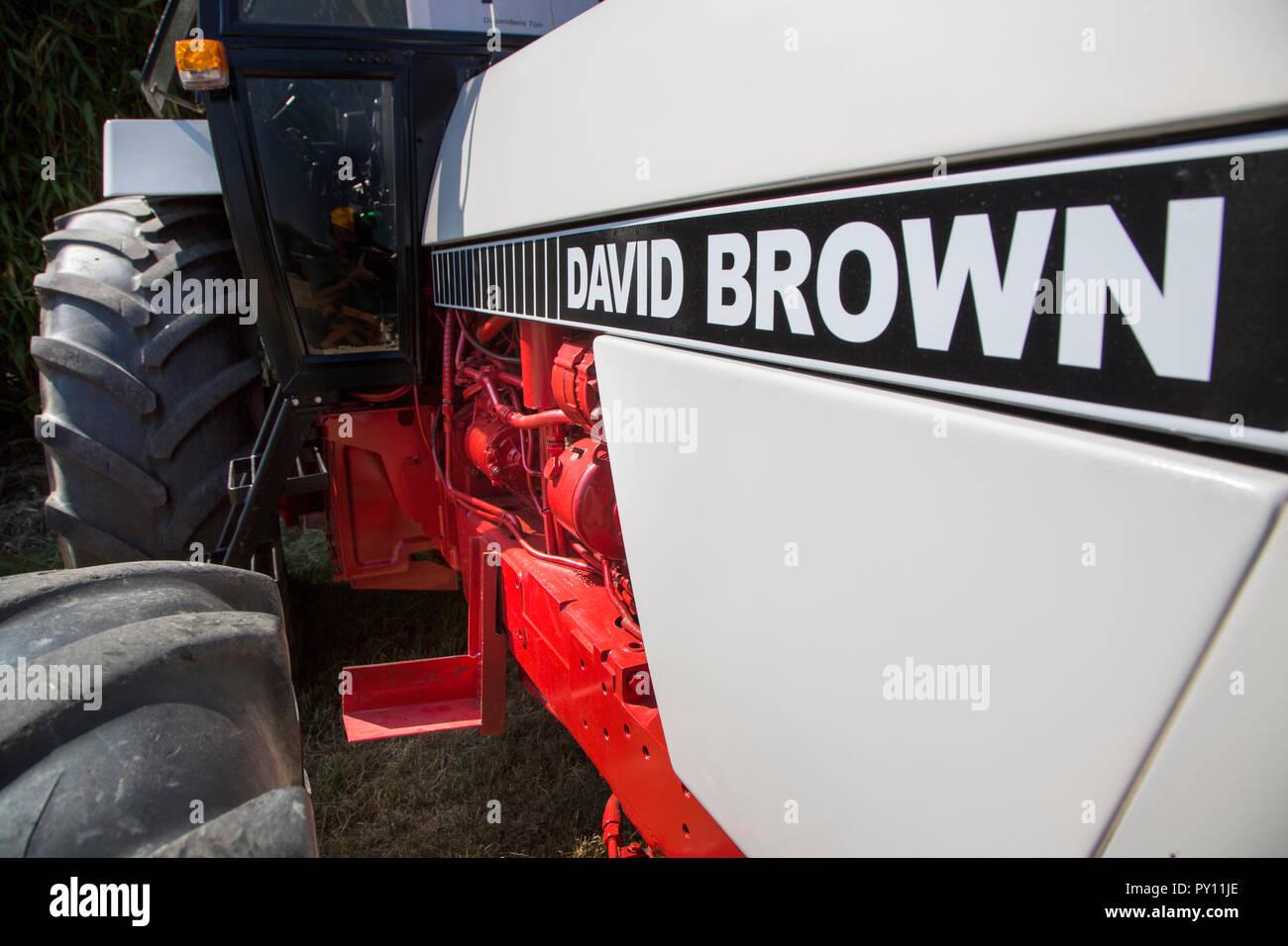 Nahaufnahme der Oldtimer David Brown 1210 Traktor Stockbild