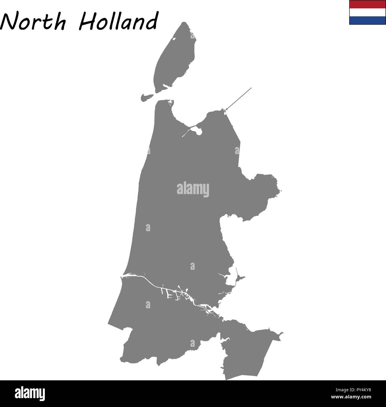 Niederlande Karte Umriss.Hohe Qualität Karte Provinz Der Niederlande North Holland Vektor