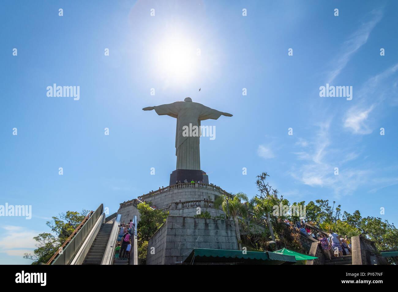 Die Rückseite Des Erlösers Christus Statue Rio De Janeiro