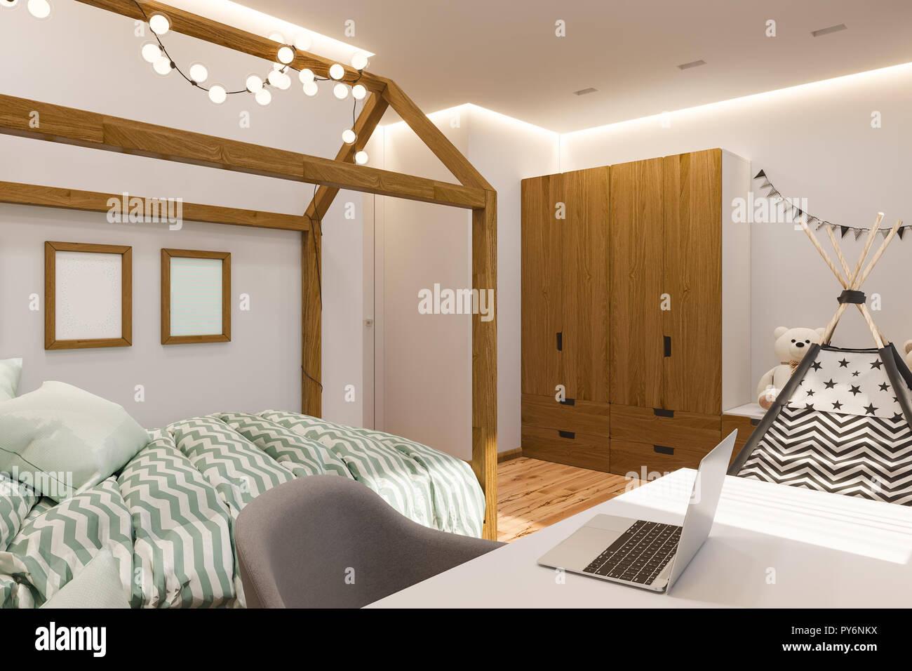 Die Innenarchitektur Kinderspielzimmer und Schlafzimmer im ...
