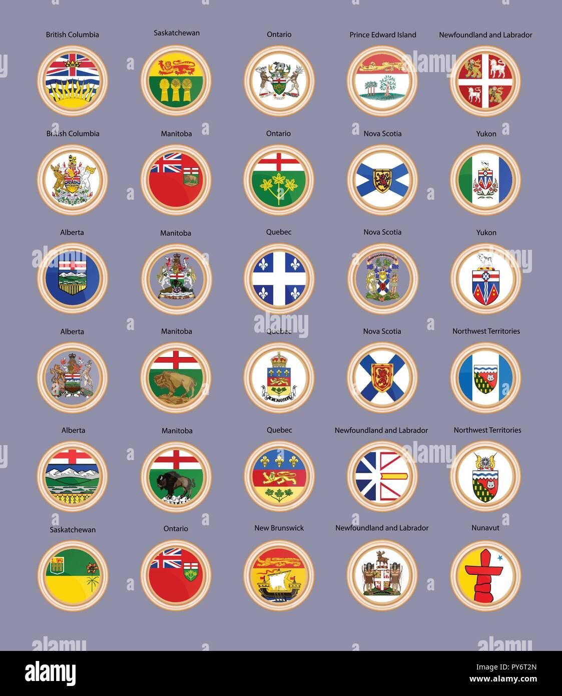 Satz von Vector Icons  Regionen von Kanada Flaggen und