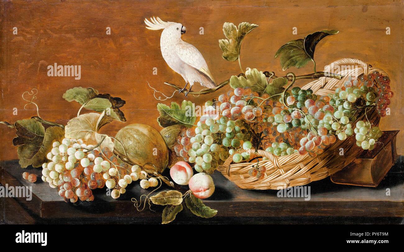 John Brett, Stillleben mit Papagei, ca. 1640, Öl auf Leinwand, Skokloster Motormuseum, Habo, Schweden. Stockbild