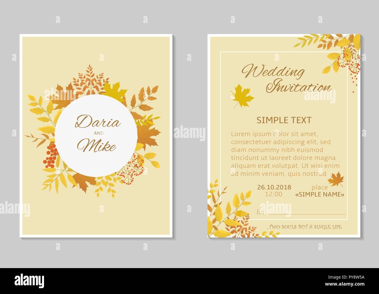 Herbst Hochzeit Einladung Vorlage Grusskarte Mit Blatter Im Herbst