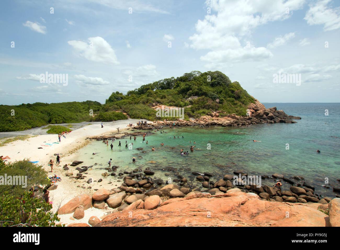 Strand Und Bucht Auf Pigeon Island National Park Direkt Vor