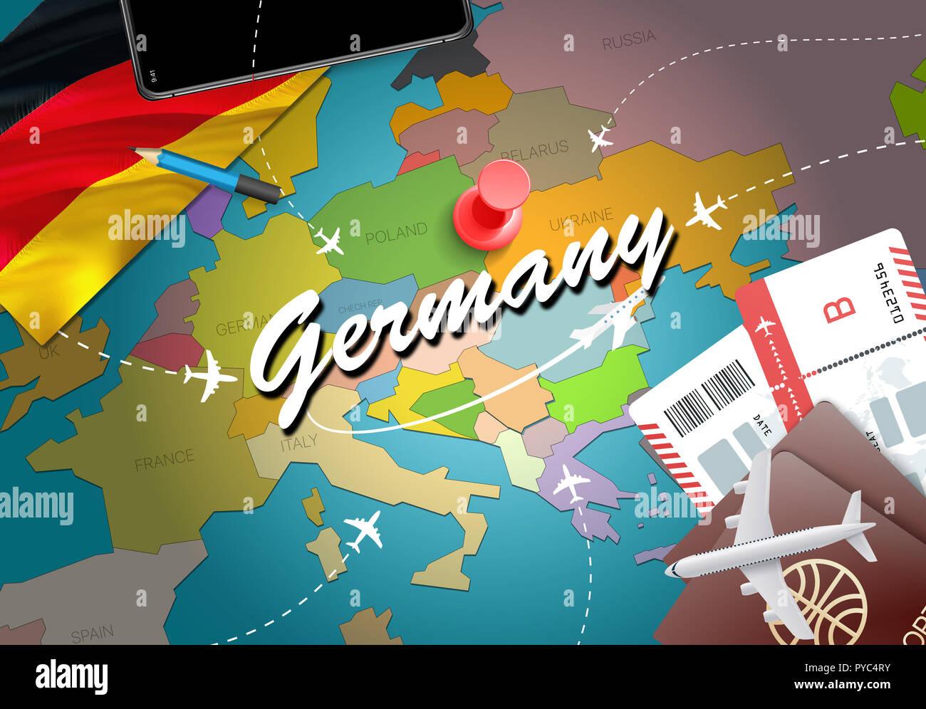 Germany Travel Concept Map Hintergrund mit Flugzeugen, Tickets ...
