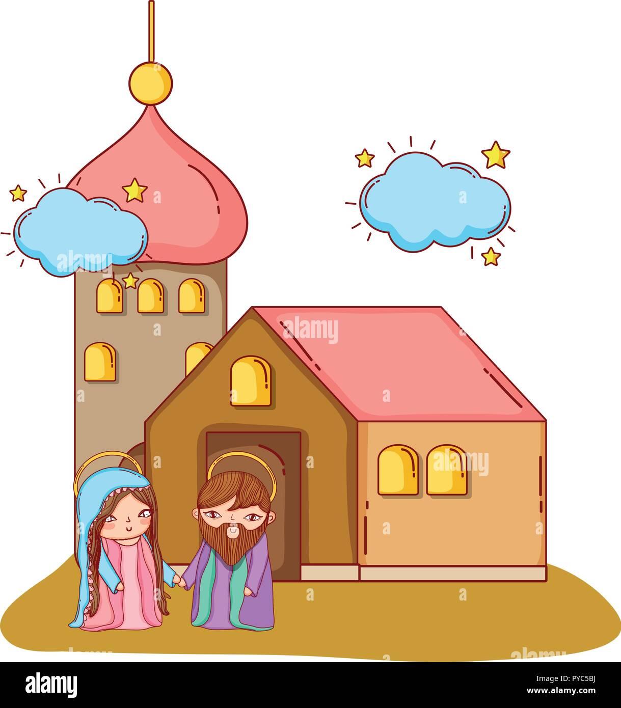 Krippe weihnachten Cartoon Stockbild
