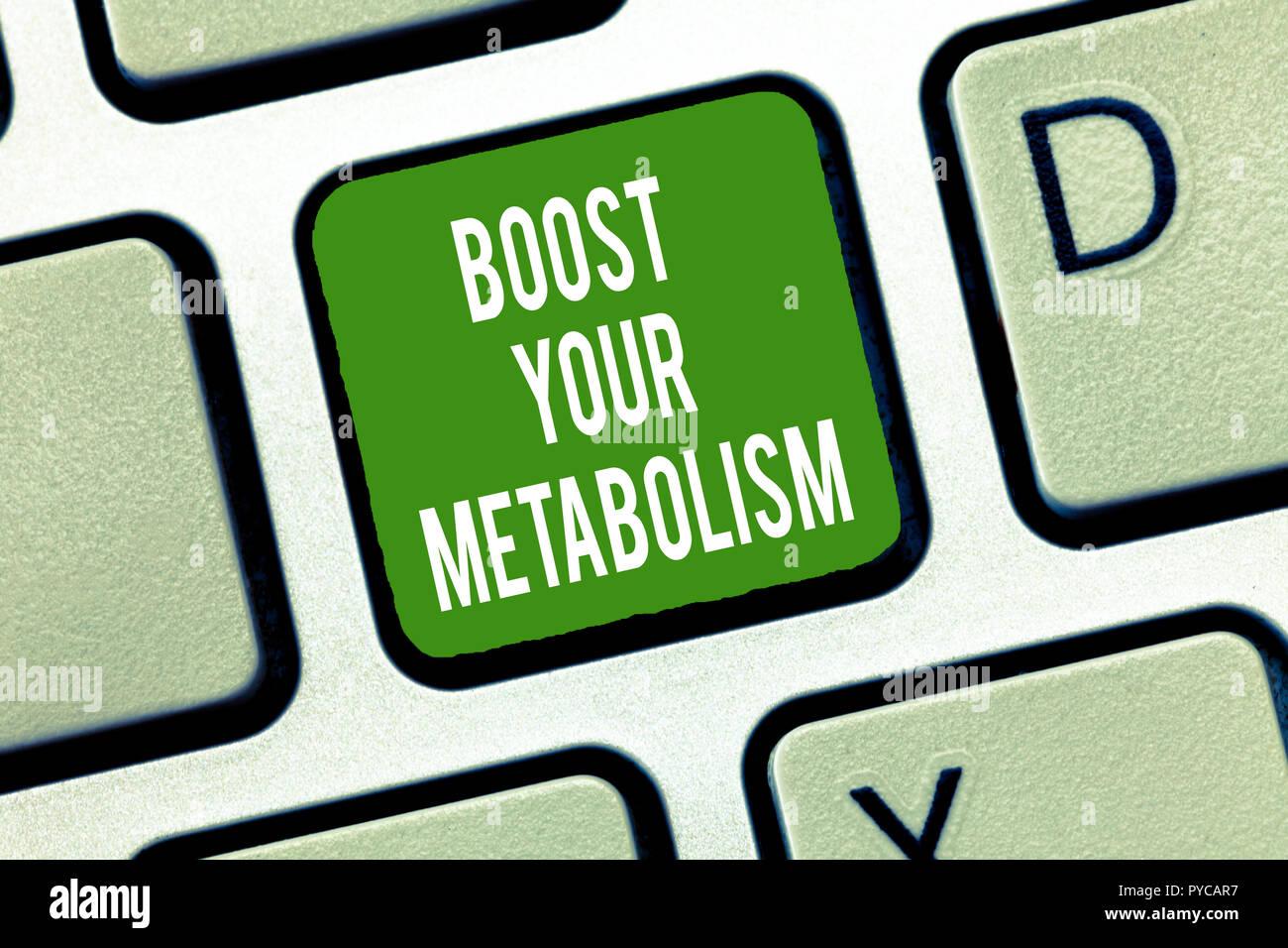 Text Zeichen angezeigt Steigern Sie Ihren Stoffwechsel. Konzeptionelle Foto die Effizienz in der brennenden Körper Fette erhöhen. Stockbild