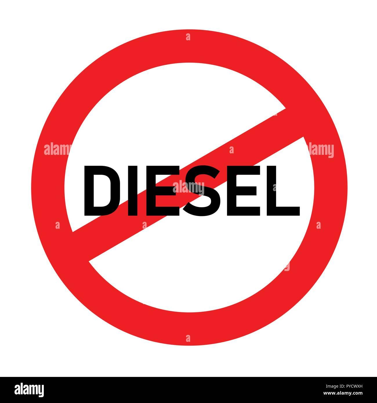 Rote Ampel Diesel Verboten Emission Skandal Vektor Illustration