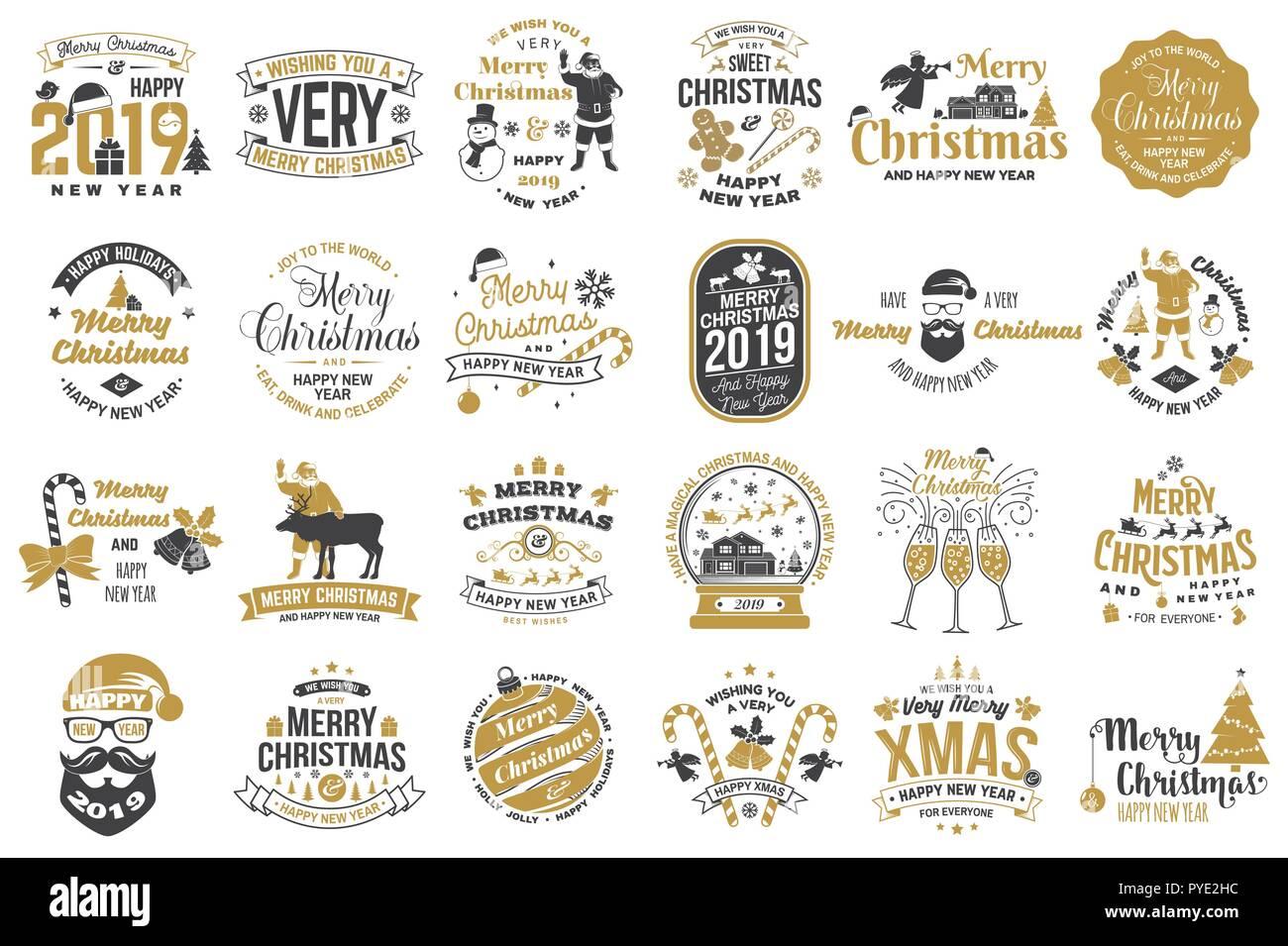 Angebote Urlaub Weihnachten 2019.Satz Von Frohe Weihnachten Und Ein Glückliches Neues Jahr 2019