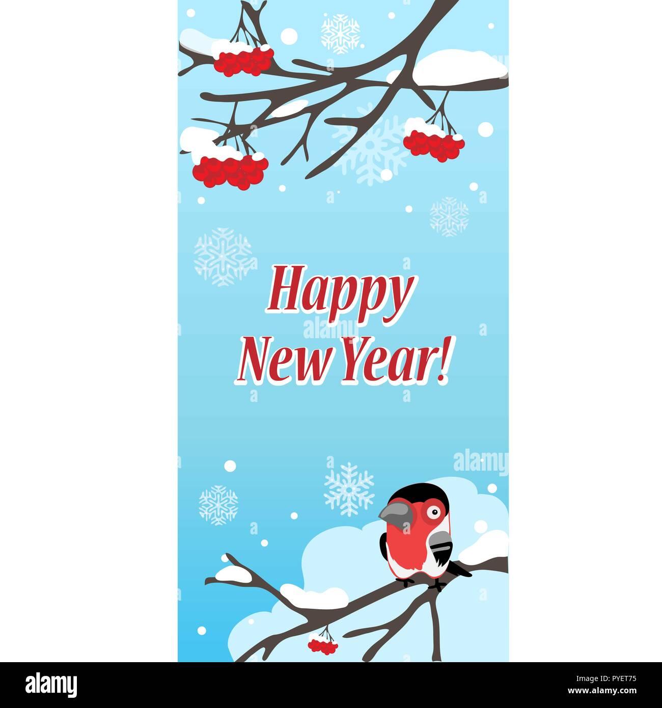 Winter Skizze auf dem Hintergrund der Snowy Red rowan Zweig mit ...