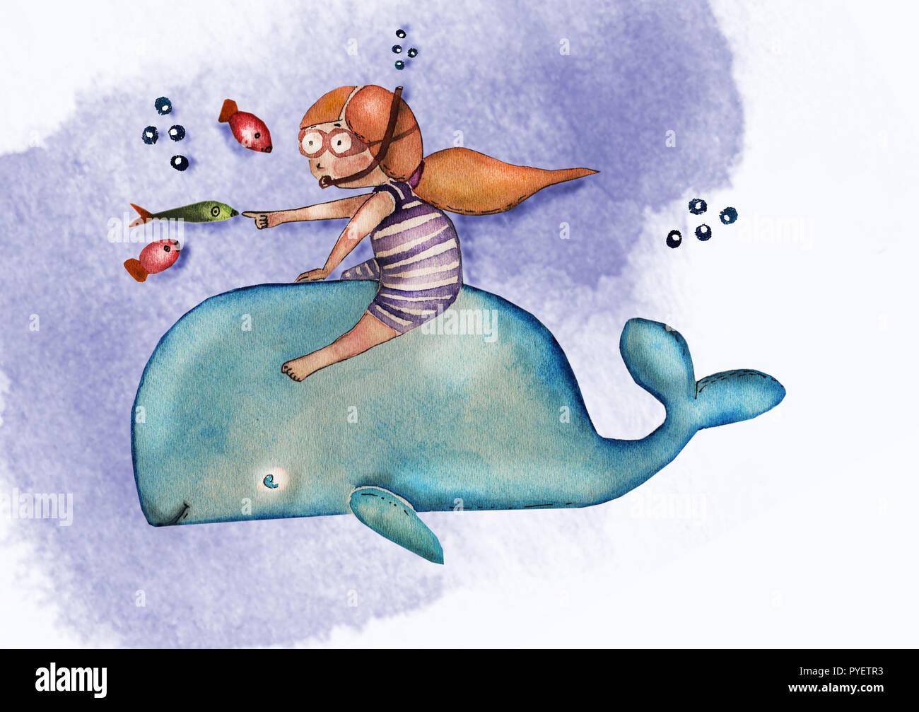 Aquarell gemalt süsse kleine Mädchen Zeichentrickfigur isoliert auf ...
