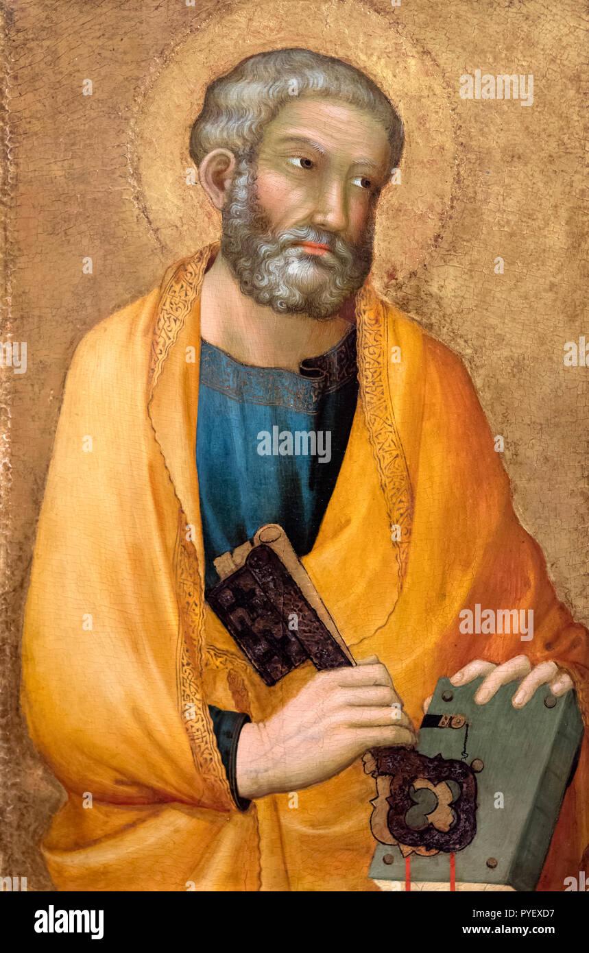 Der heilige Petrus von Simone Martini (c.1284-1344), Tempera und Gold auf Panel Stockbild