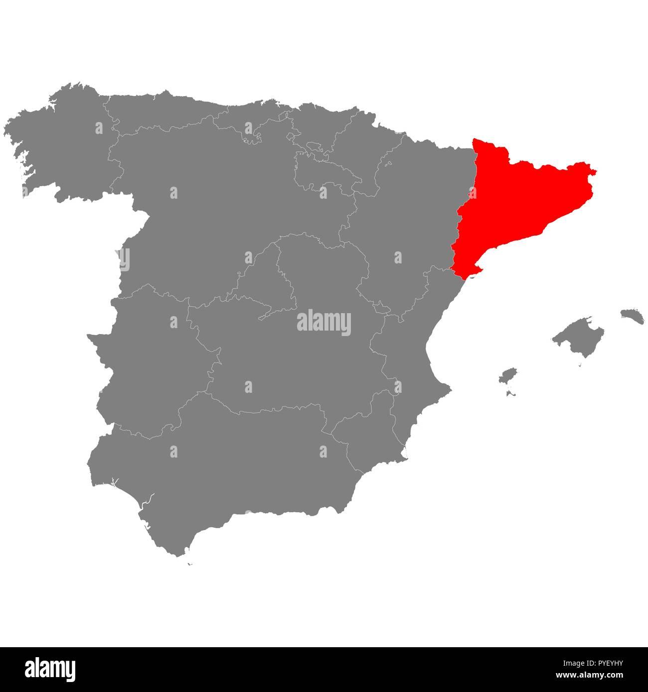 Spanien Katalonien Karte.Hohe Qualität Karte Von Spanien Mit Borderrs Von Katalonien Vektor