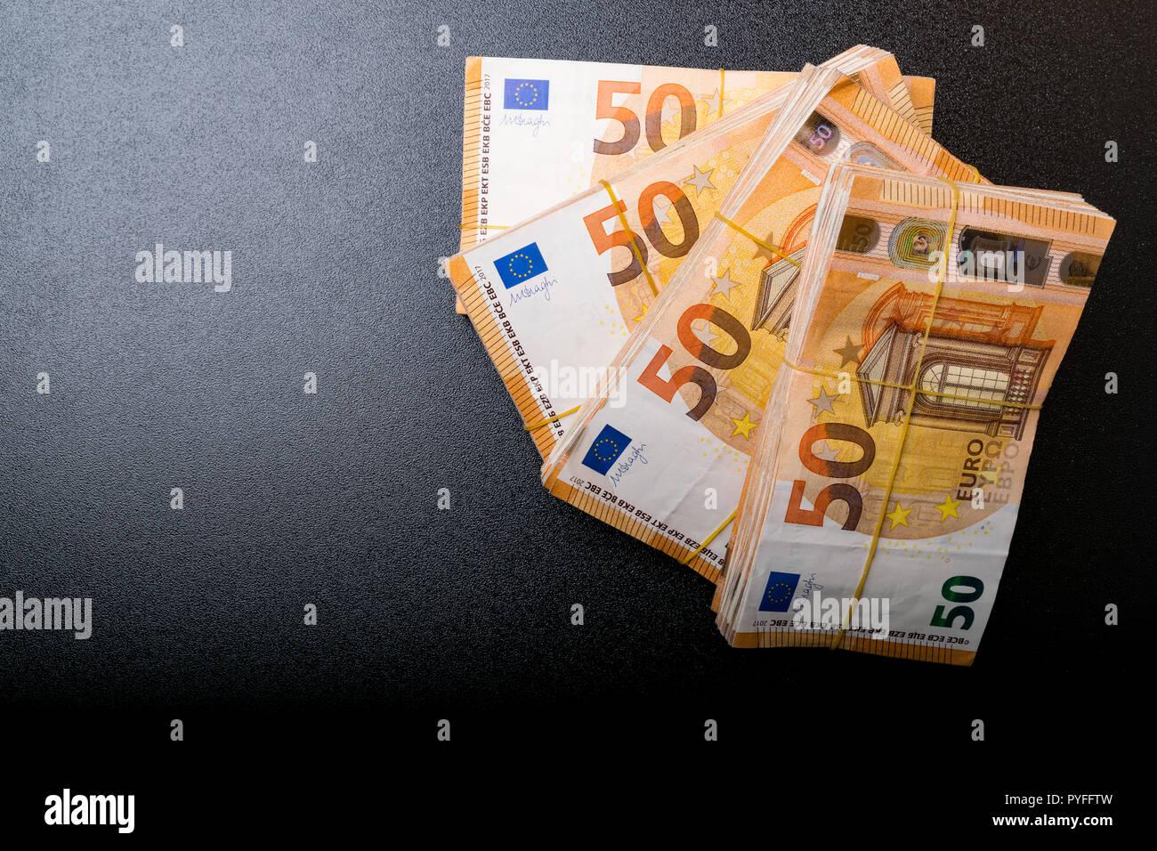 Stapel Von 50 Echten Euro Banknoten 50 Euro Banknoten Unter