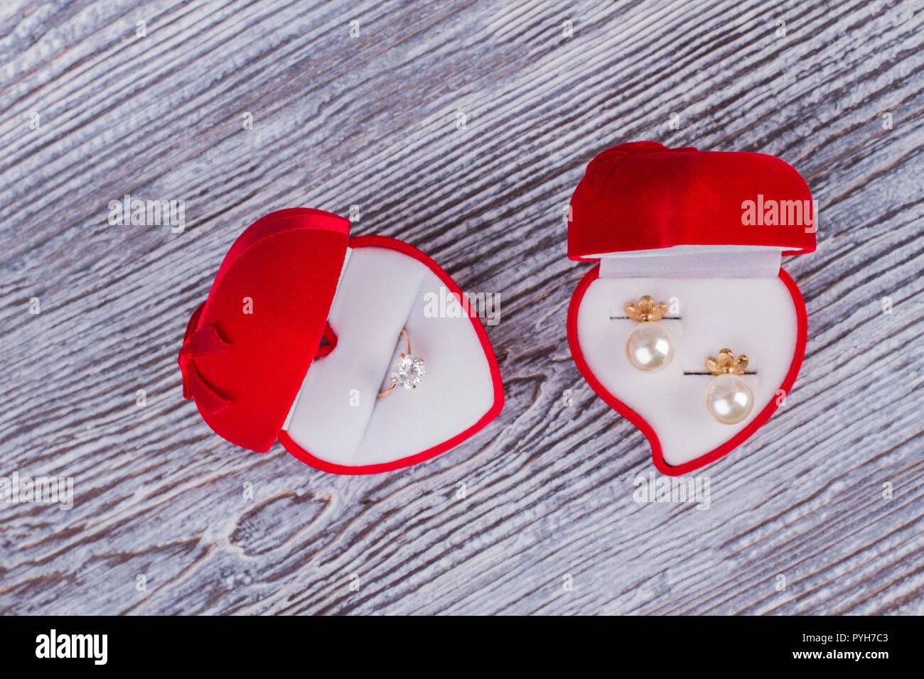 Red Velvet Geschenkboxen Mit Schmuck Hochzeit Ring Box Und