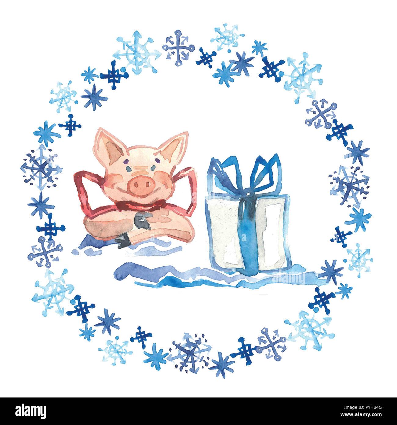 Aquarell Winter Grußkarte mit niedlichen Schwein mit Geschenk. 2019 ...