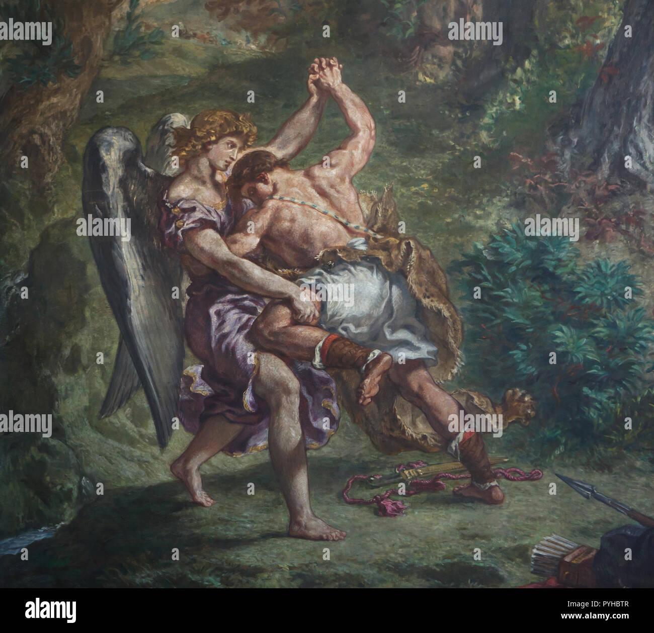 Jakobs Kampf mit dem Engel. Wandmalerei von Französischen romantischen Maler Eugène Delacroix (1855 - 1861) in der Kapelle der Heiligen Engel in der Kirche von Saint-Sulpice (Église Saint-Sulpice) in Paris, Frankreich. Stockbild