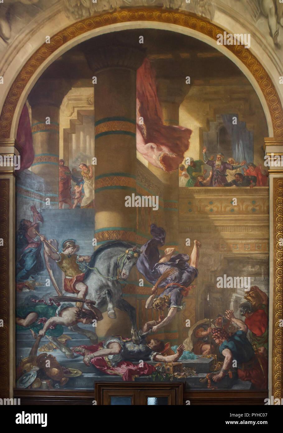 Vertreibung des Heliodor aus dem Tempel. Wandmalerei von Französischen romantischen Maler Eugène Delacroix (1855 - 1861) in der Kapelle der Heiligen Engel in der Kirche von Saint-Sulpice (Église Saint-Sulpice) in Paris, Frankreich. Stockbild